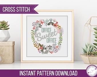 Office Sweet Office Cross Stitch Pattern, Wreath Cross Stitch Pattern, Cross Stitch Chart by Peppermint Purple