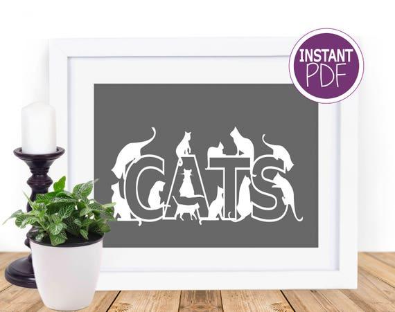 Cat Lover papercut template