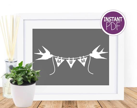 Love Birds Mum Papercut Template