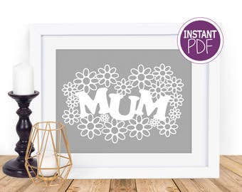 Commercial Use Papercut Template Mum - perfect for Mother's day