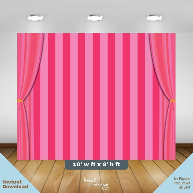 Pink Stripes 10 X 8 Backdrop Banner W Curtains