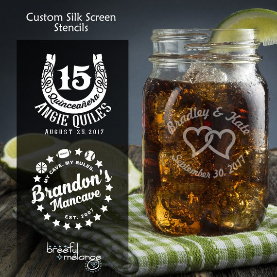 Reusable Glass Etching Stencil Custom Design and 1 Stencil | Silk Screen Stencil for Glass, Wood and More |  Free Video-PDF Instructions
