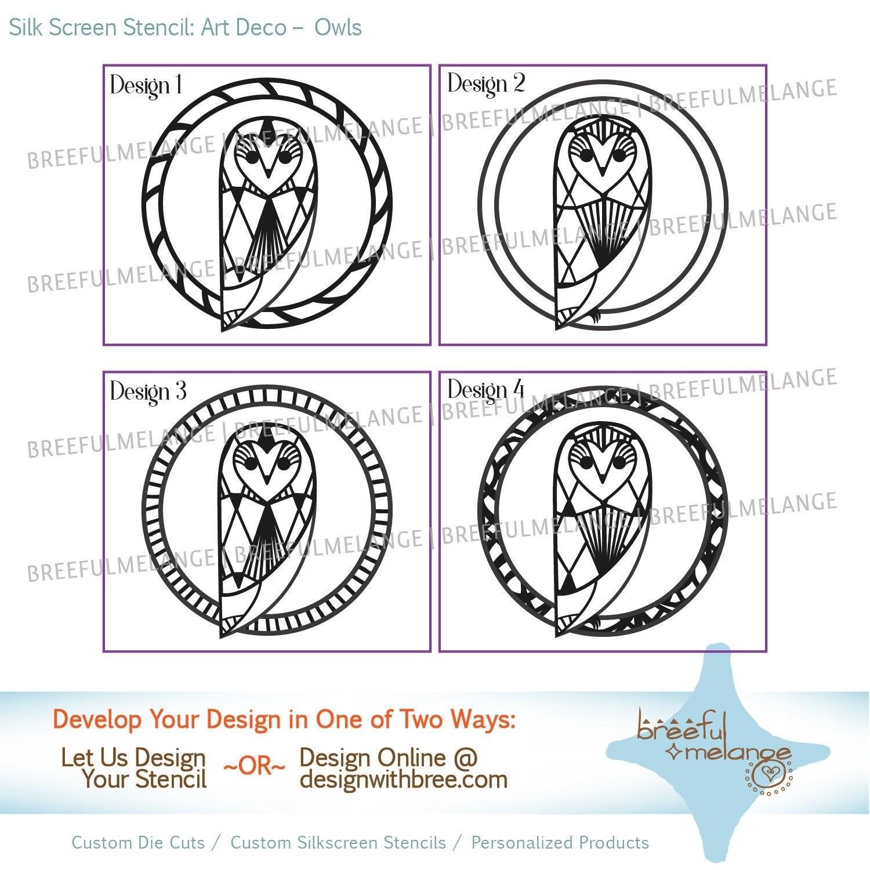 Art Deco Owl Reusable Silk Stencil Stock Silk Screen