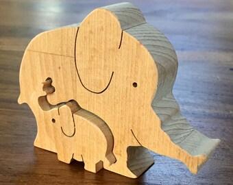 Vintage Enzo Mari Style Wooden Elephant Puzzle