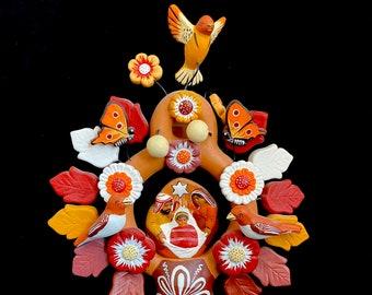 pottery artwork Miniature Pink Arbol de la Vida Traditional Crafts Mexican clay art decor handmade tree of life ceramic art
