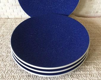 "Vintage Sasaki Colorstone Sapphire Dinnerware Japan - Set of 4 Dinner Plates 10-3/4"""