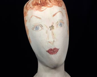 Vintage Handmade and Painted Paper Mache' Hat Head Display