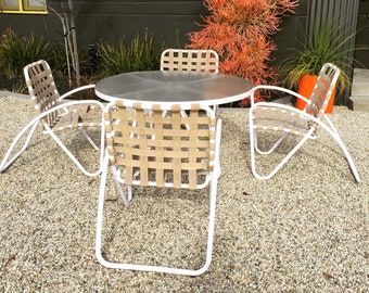 7ddffe51d160f SOLD - Vintage Brown Jordan Bolero by Richard Frinier Outdoor Dining Table  Six Chairs and Ottoman