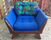 SOLD - Adrian Pearsall Sculpted Walnut Wood Club Lounge Chair with Stunning Blue Original Fabric - Mid Century Modern