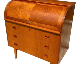 SOLD - Egon Ostergaard Secretary - Vintage Danish Modern Teak Secretary Roll Top Desk Designed by Egon Ostergaard, Sweden