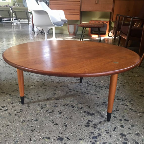 SOLD Danish Modern Dux Sweden Round Teak Coffee Table with ...