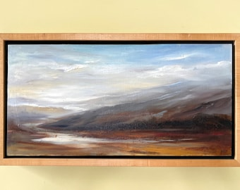 Cheryl Kline Painting - Original Cheryl Kline Framed Canvas Painting Titled Silver Path