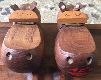 Whimsical Vintage Mid Century Zoo Line Hippo Hippopotamus Valet Desk Organizer
