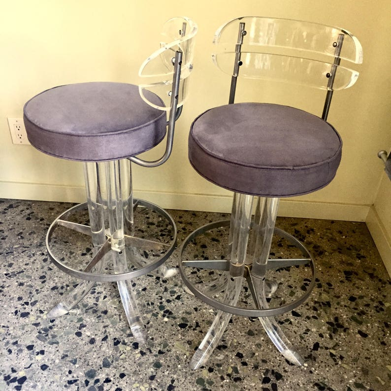 Vintage Hollywood Glam Pair Of Lucite Bar Stools With Grey Suede Fabric