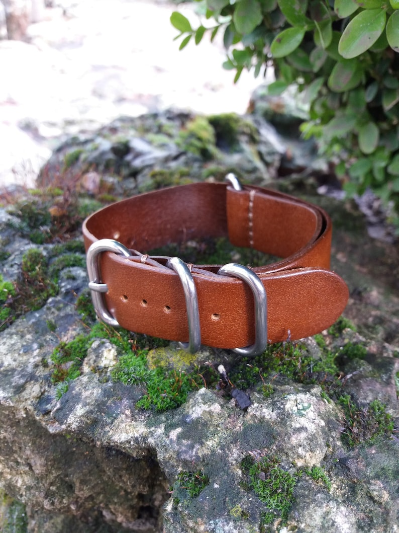 c842fb3348d 22mm ZULU Leather Watch band Crazy Horse Genuine Leather