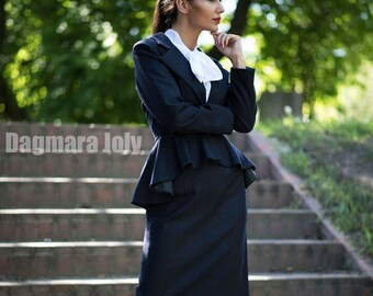 Women pinstripe suit, two piece women outfit, suit skirt, business suit, peplum suit, office wear, skirt set, peplum jacket, navy suit,
