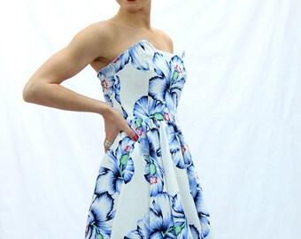 SALES Strapless  knee length white dress, floral swing dress, swing strapless dress, circle dress, mad men dress, full dress