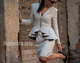 Women tailored suit, two piece women outfit, suit skirt, business suit, peplum suit, office wear, skirt set, peplum jacket, grey suit