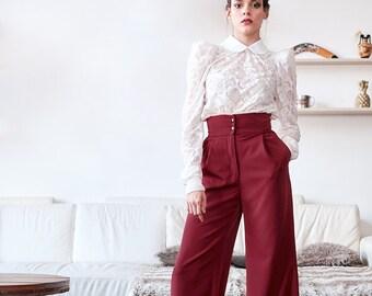 Women bordeaux wide legs trousers, wide legs pants, high waisted pants, pants with pockets, wide legged pants