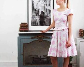 SALES Floral knee length pink dress/ office wear/ summer dress/ knee length cap sleeves dress/ U scoop dress