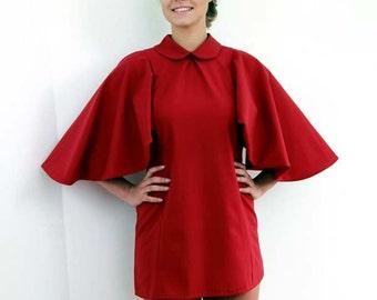 short red dress, high neck red dress, mini red dress, butterfly sleeve dress, womens dresses, evening dress, evening wear