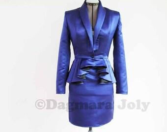 Women tailored suit, two piece women outfit, suit skirt, business suit, peplum jacket, peplum suit, office wear, skirt set, peplum jacket
