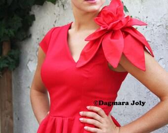 Red peplum cap sleeve top, red peplum top, peplum blouse, peplum shirt, peplum short sleeve blouse
