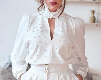 Women long sleeve blouse women blouse black blouse | Etsy