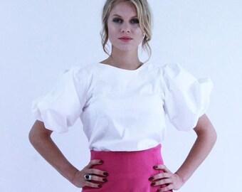 82aa8586b1c584 Women short sleeve white blouse, puff sleeve blouse, balloon sleeve blouse, white  top, white shirt, puff sleeve top