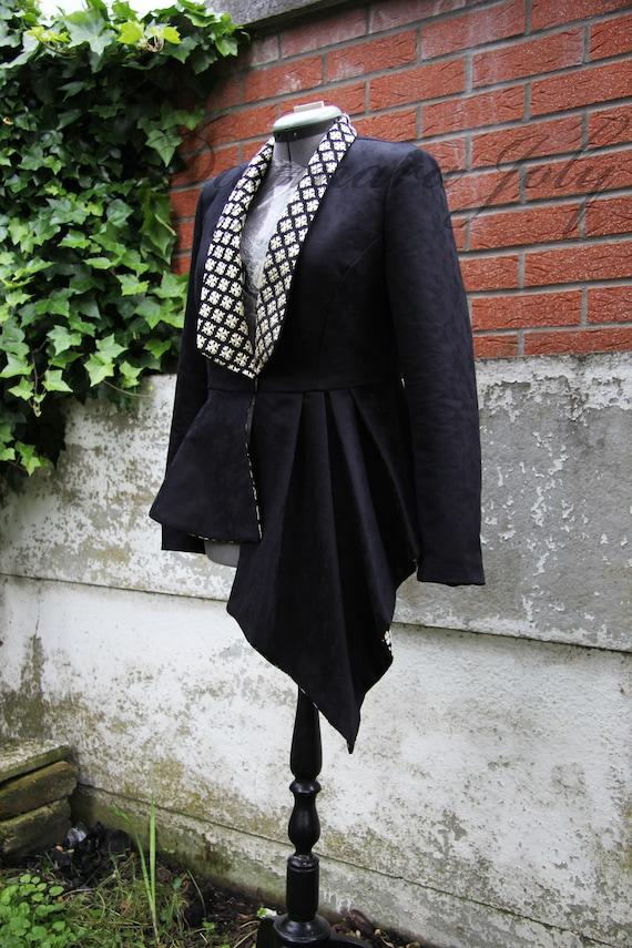 Smoking Plissierte KleidungTragenSchwarze Jacke Peplum Asymmetrische Frauen JackeDamen 3AL4Rj5