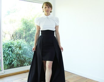 Black maxi skirt, maxi skirt with pockets, high waisted maxi skirt, ballgown skirt, high low skirt, hi lo skirt, overskirt