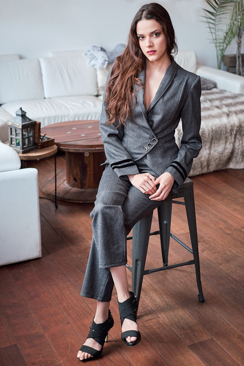 Tailored Two PantsEtsy Gray Outfit Women Suit Piece rhdtsQC