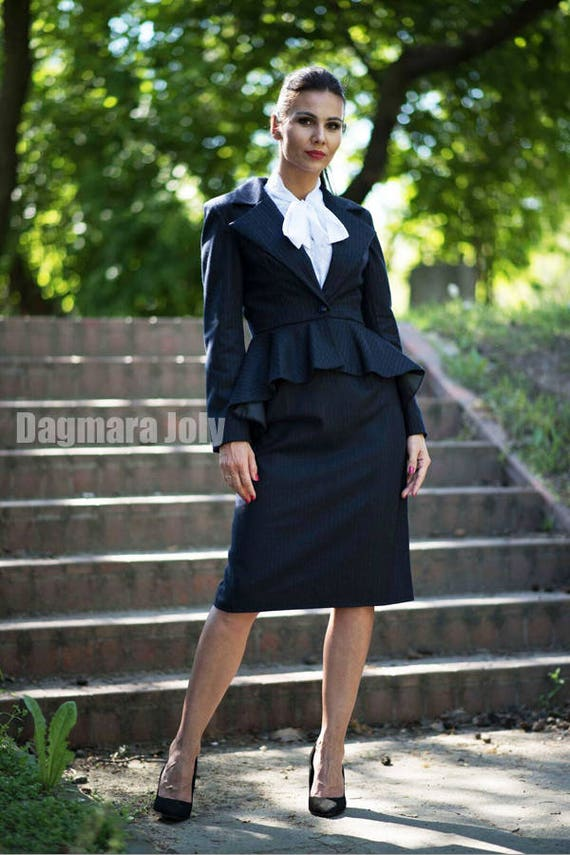 business fit SALES pinstripe office blazer peplum wear women peplum navy jacket women clothes blazer slim jacket blazer suit PCCwSHxq