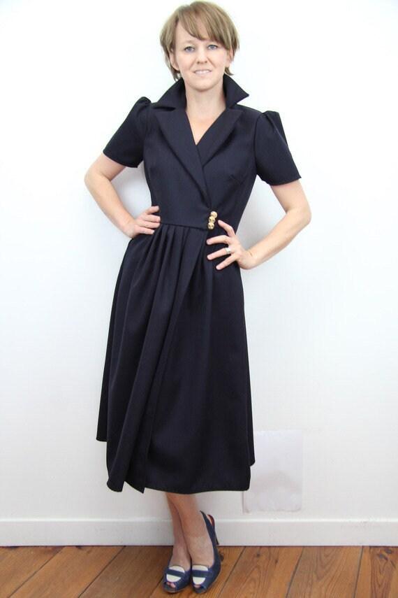 finest selection c044a 4f9a4 blu marino MIDI vestito / wrap dress, abito smoking, abito con tasche,  giacca abito, breve maniche abito, soffio manica abito, smoking donne