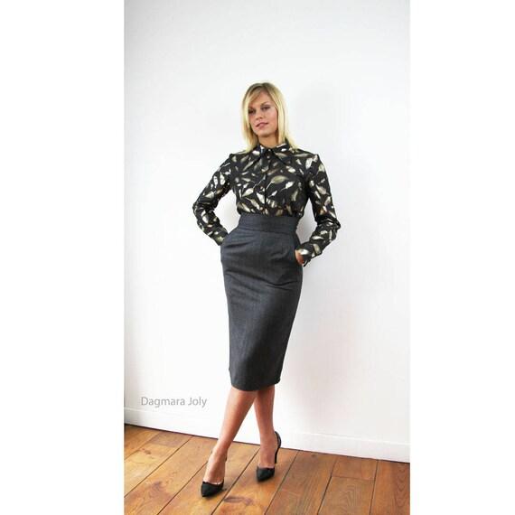 search for newest better speical offer Women knee length gray tweed skirt, office wear, busienss clothes, pencil  skirt, tweed skirt, skirt with pockets, high waist skirt