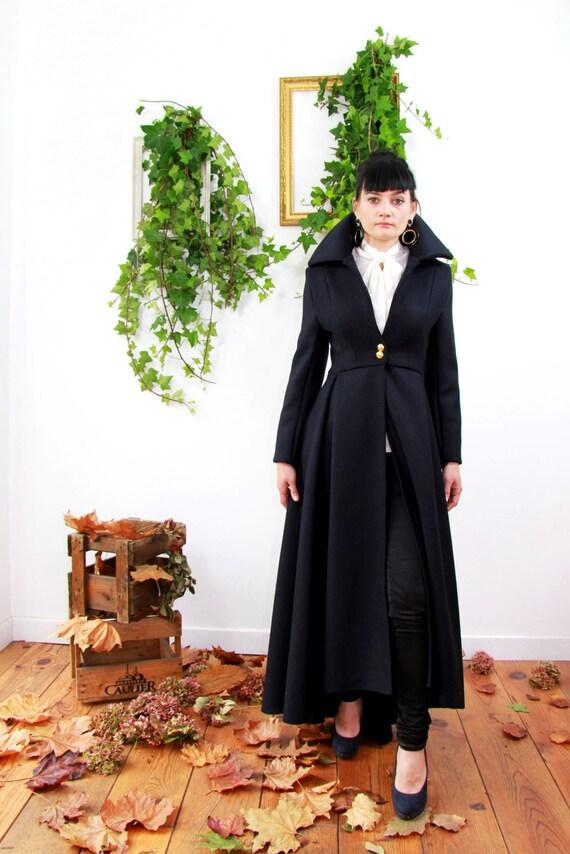 En Noire Manteau Long Femme AsymétriqueEtsy Laine 1J35uTcFlK