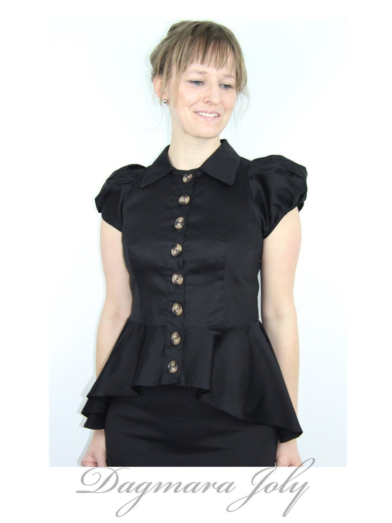 81545ebba42 Short puff sleeve black shirt black peplum shirt steampunk