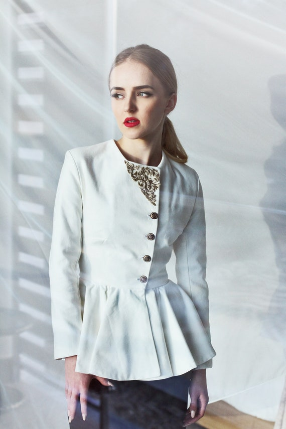 Womens Slim Fit White Jacket White Peplum Jacket Women Etsy