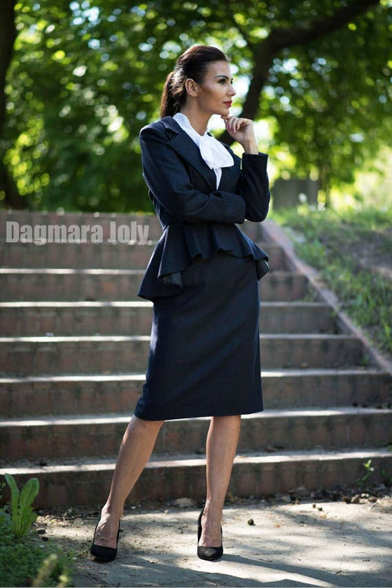 Sales Women Pinstripe Suittwo Piece Women Outfit Suit Skirt Etsy