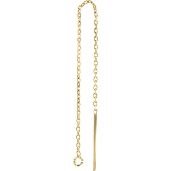 14K Gold Diamond Cut Cable Chain Ear Thread U-Threader Dangle Drop wRing U-Wire