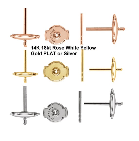 18K Solid Rose White Yellow Gold Platinum or Silver Premium Swirl Large Jumbo Friction Earring Nuts Backs 9.4mm One Pair 2 pcs