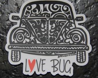 """Sticker - """"Love Bug"""" BEETLE - Die Cut Vinyl Sticker - 4"""" x 4"""""""