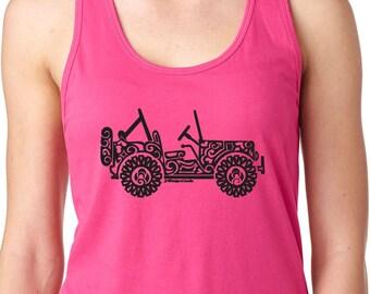 JEEP SIDEVIEW Tribal Tank Top - Ladies Racerback Tank Top