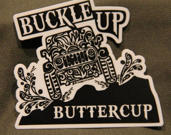 "Featured listing image: Sticker  - ""Buckle up Buttercup - Jeep Tribal Tattoo"" - Die Cut Vinyl Sticker - 4"" x 4"""