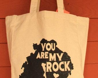 You Are My ROCK Design Grocery Tote Bag -  Screen Printed Original Design