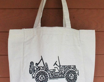 JEEP2 - SIDE VIEW Tribal Tattoo Design Grocery Tote Bag -  Screen Printed Original Design