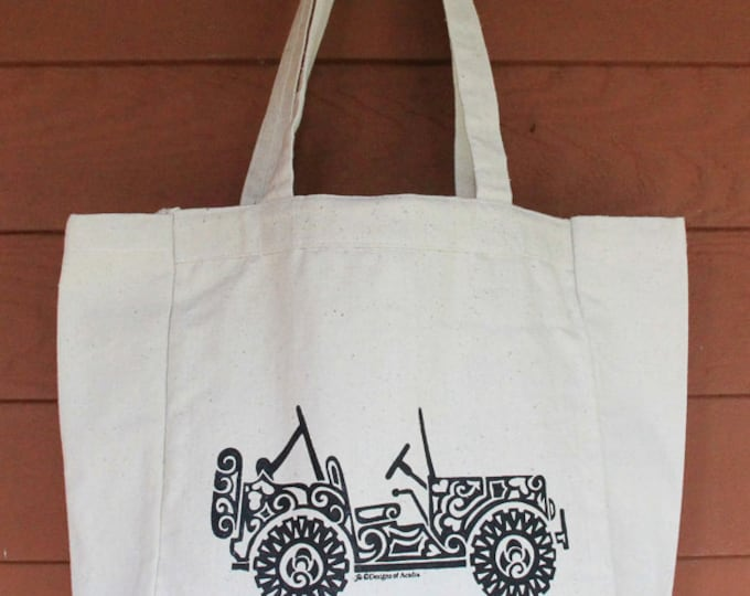 Featured listing image: JEEP2 - SIDE VIEW Tribal Tattoo Design Grocery Tote Bag -  Screen Printed Original Design