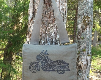 Motorcycle Tribal Tattoo Messenger Field Bag -  Screen Printed Original Design