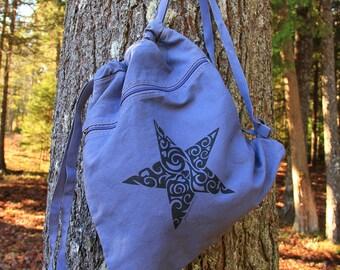 STAR Tribal Tattoo Pigment Dyed Cinch Bag Backpack -  Screen Printed Original Design