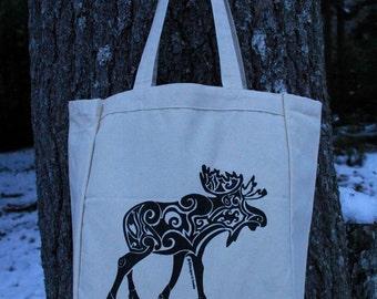 Moose Tribal Tattoo Design Grocery Tote Bag -  Screen Printed Original Design